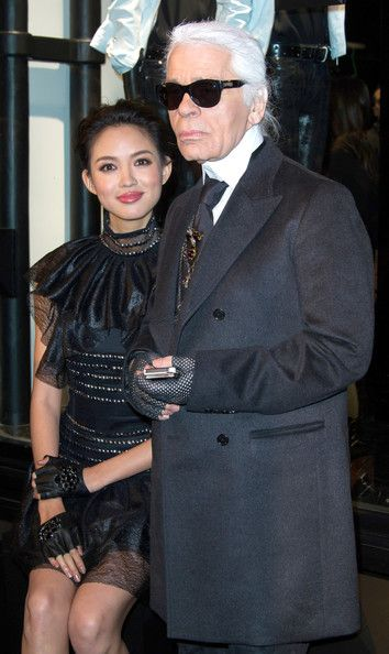 Chinese model, actress & 2007 Miss World Champ Zhang Zilin attends Karl Lagerfeld's Concept Store Opens in Paris 2014.