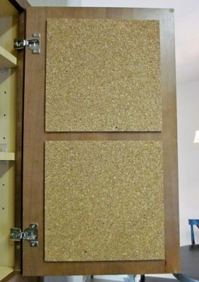 Hang cork tiles to the inside of kitchen cupboards to keep track of all your important notes.