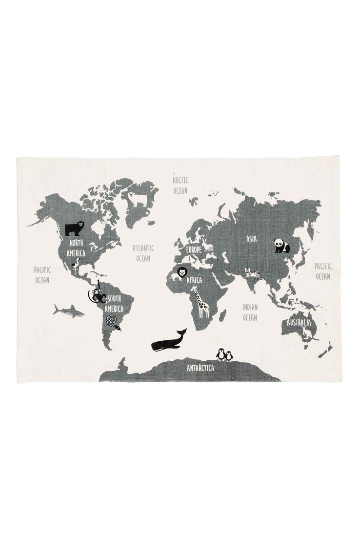 Baumwollteppich mit Weltkarte - Weiss/Tiere - HOME   H&M CH 1