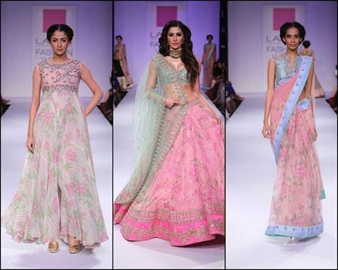 Anushree Reddy This chilly winter witness the easy breezy vibe of florals from Lakme Fashion Week Winter/Festive 2014  Anushree Reddy's floral prints in vintage hues were reminiscent of the bygone British era. To top it all, Nargis Fakhri made a grand entrance in pink floral lengha. Amazing, right? www.chimoraprint.com #fashion #digital #print #fabric