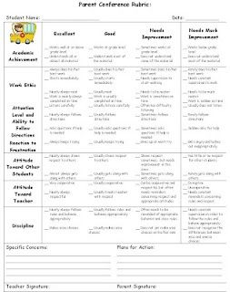 Love this idea! A rubric sent home with conference letters/invites. (This…