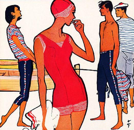 Illustration by René Gruau, 1958, Jantzen Swimwear.