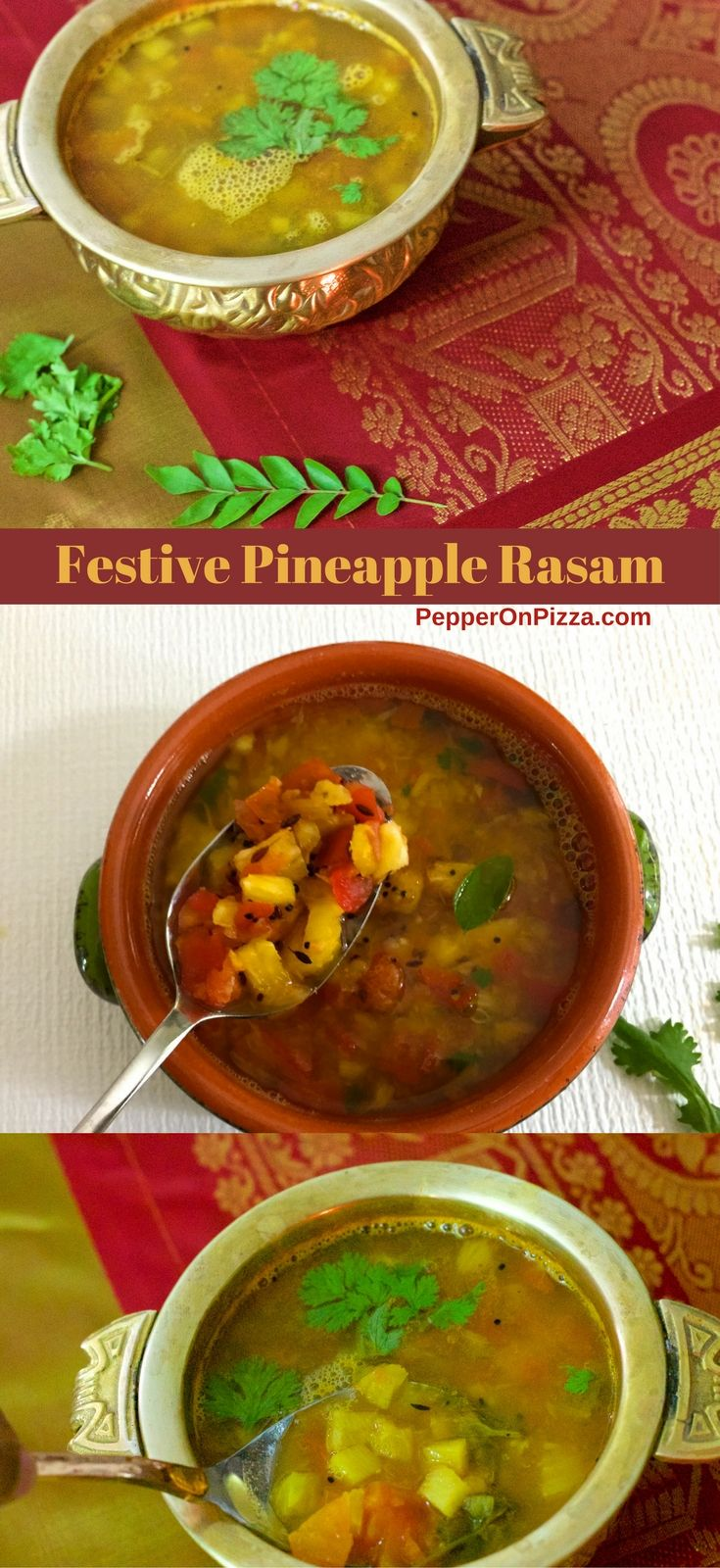 Festive Pineapple Rasam a tangy South Indian Pineapple Lentil Soup served with rice, papad and sautéed vegetable curry. Popular at Tamilian wedding lunches via @sujatashukla