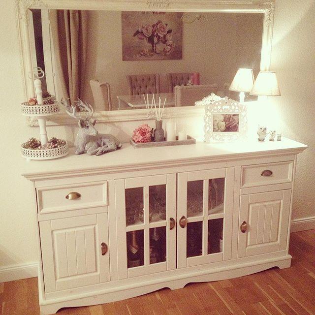 #landhaus#shabbychic#home#homedesign#sideboard#style#hirsch#mirror#wohnzimmer#li… – Vera Preen