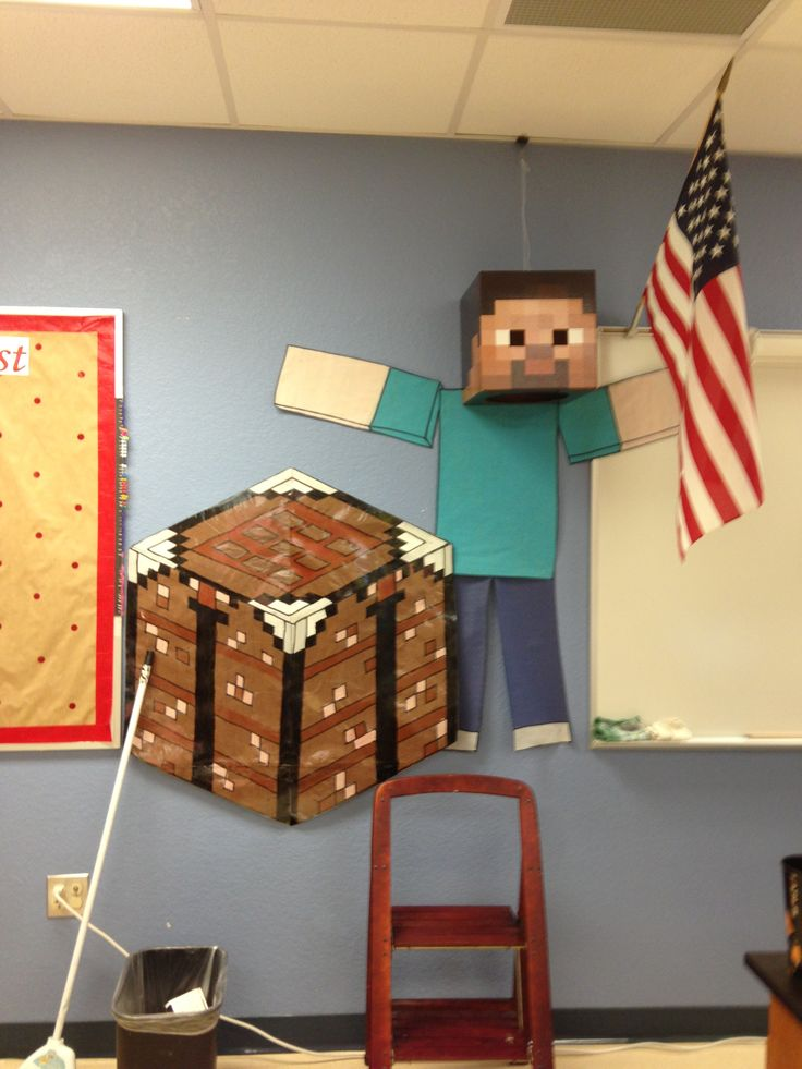 """Almost finished with my Minecraft bulletin board. My nephew says I should use """"crafting for knowledge"""". I think I will post daily objective on the crafting table."""