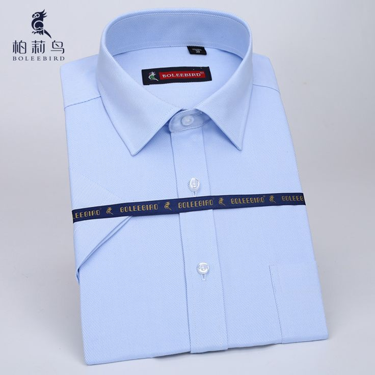 BOLEEBIRD Algodón Puro de Los Hombres Camisas de Vestir de manga Corta con Bolsillo Oficina Slim-fit Comercial Formal Ropa Social Camisa de trabajo free shipping worldwide