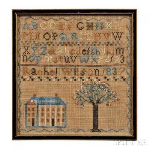 Needlework Sampler, Rachel Wilson, Shrewsbury, Pennsylvania, c. 1837, in blue, green, black, and brown cross-stitch on linen, 9 1/4 x 8 1/4 in.,
