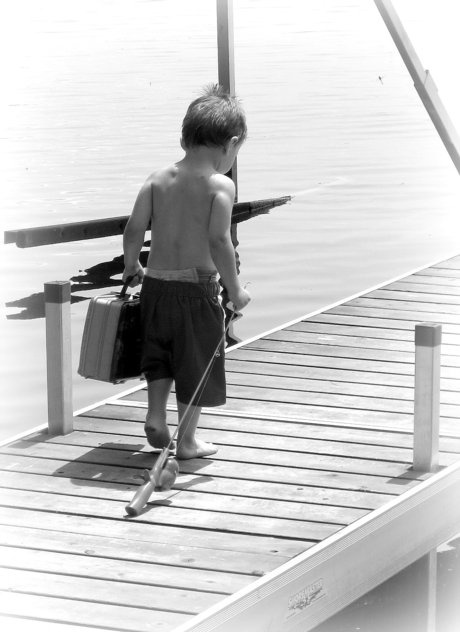 gone fishin' ... All he needs is the patent pending Best Buddy Tackle Box and Clip:)!  Get yours and learn more at www.bestbuddyfishing.com #kidsfishing