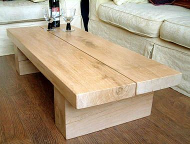 natural solid oak hand made rectangular coffee table