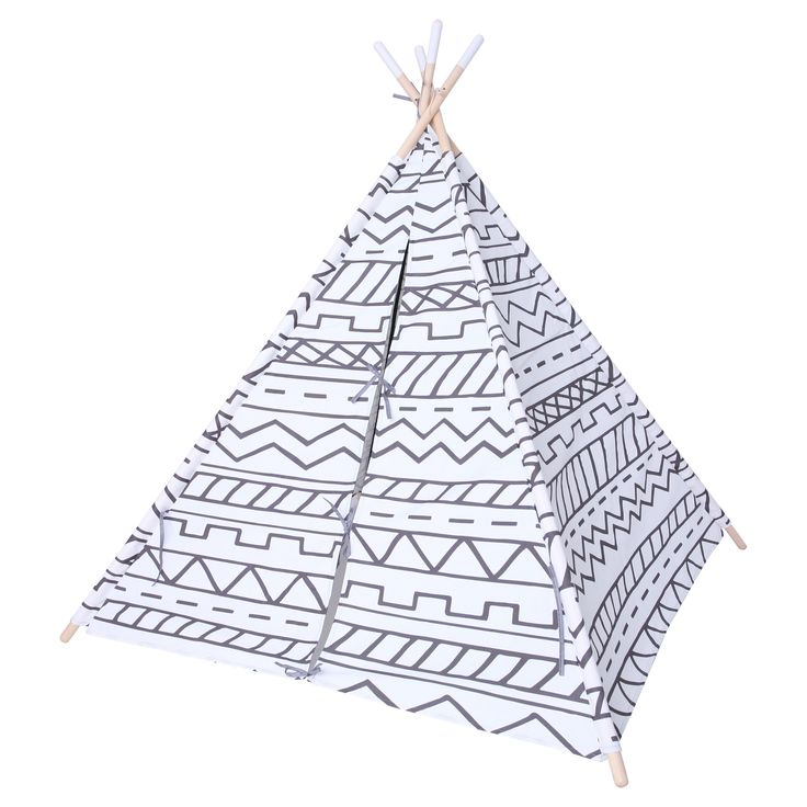 """Give you child's room a real outdoor feel with the Pillowfort Teepee in Gray & White from the Camp Kiddo collection. This kids' teepee is perfect for a boy or girl who likes creature comforts but wants to pretend to brave the out of doors. The southwestern pattern of the fabric has the appearance of cavnas and the poles are made of wooden dowels with white painted tips. The inside of the teepee is 56"""" square, enough room for gathering a collection of stuffed animals. The teepee comes with a…"""