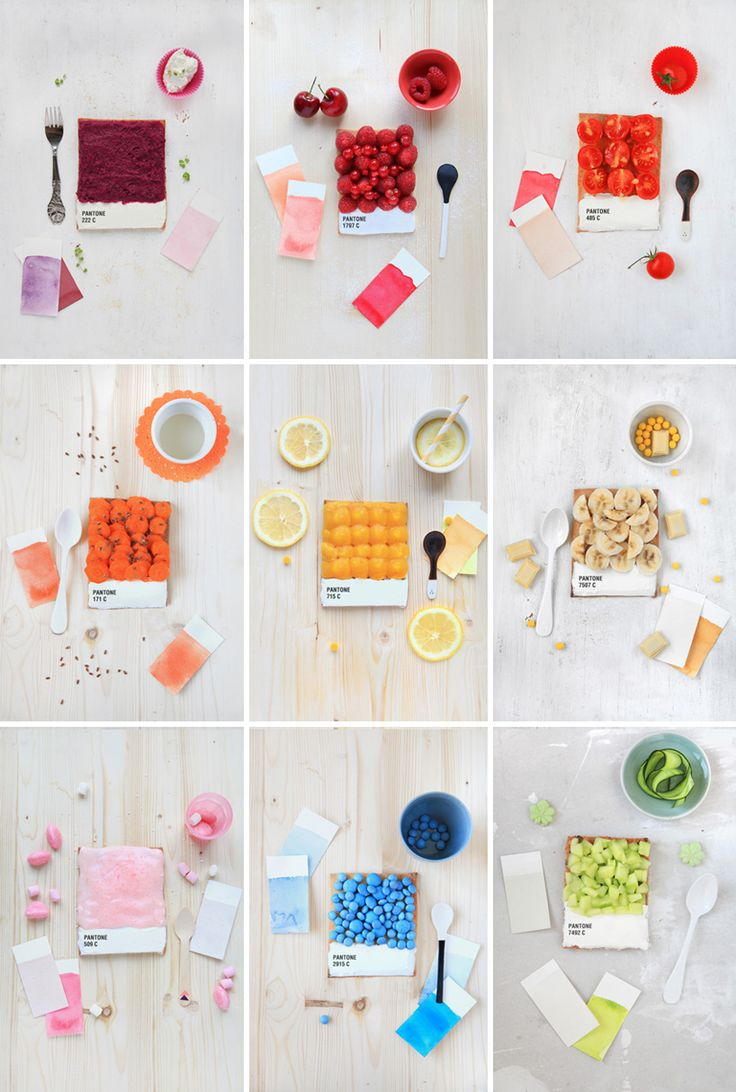 French food designer Emilie de Griottes developed dessert tarts   that recreate pantone colour swatches. berries, carrots, lemon, candies, and other foods are arranged upon a tart base,   whose bottom is iced in white and marked with the pantone colour represented