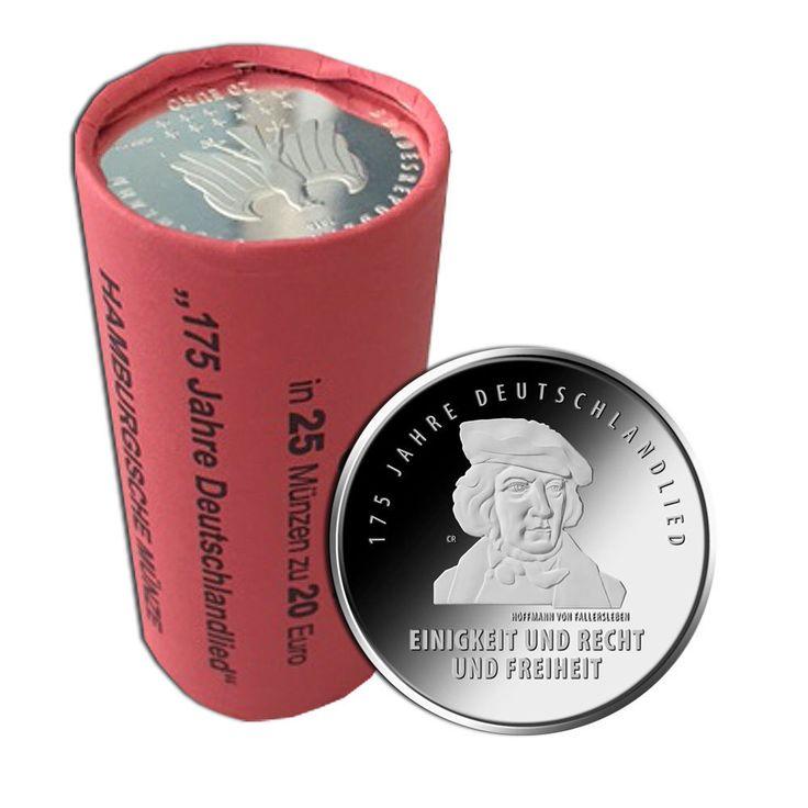 Rolle mit 25x 20 Euro Silbermünze Deutschlandlied