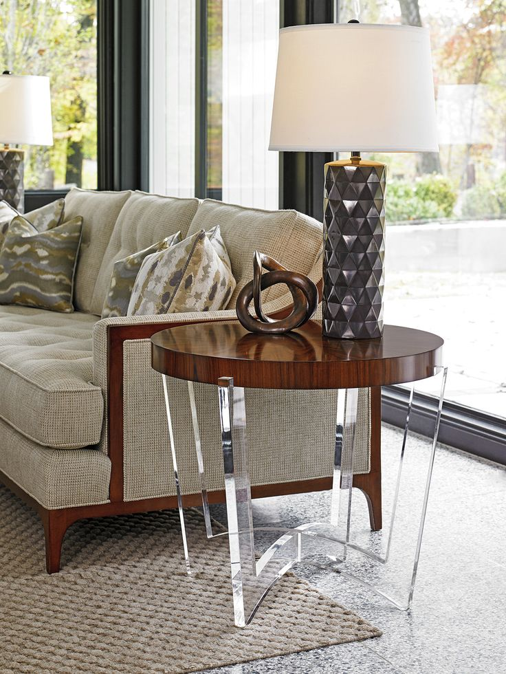 Take Five Hudson Round End Table | Lexington Furniture #MidcenutryModern  #Acrylic #Rosewood