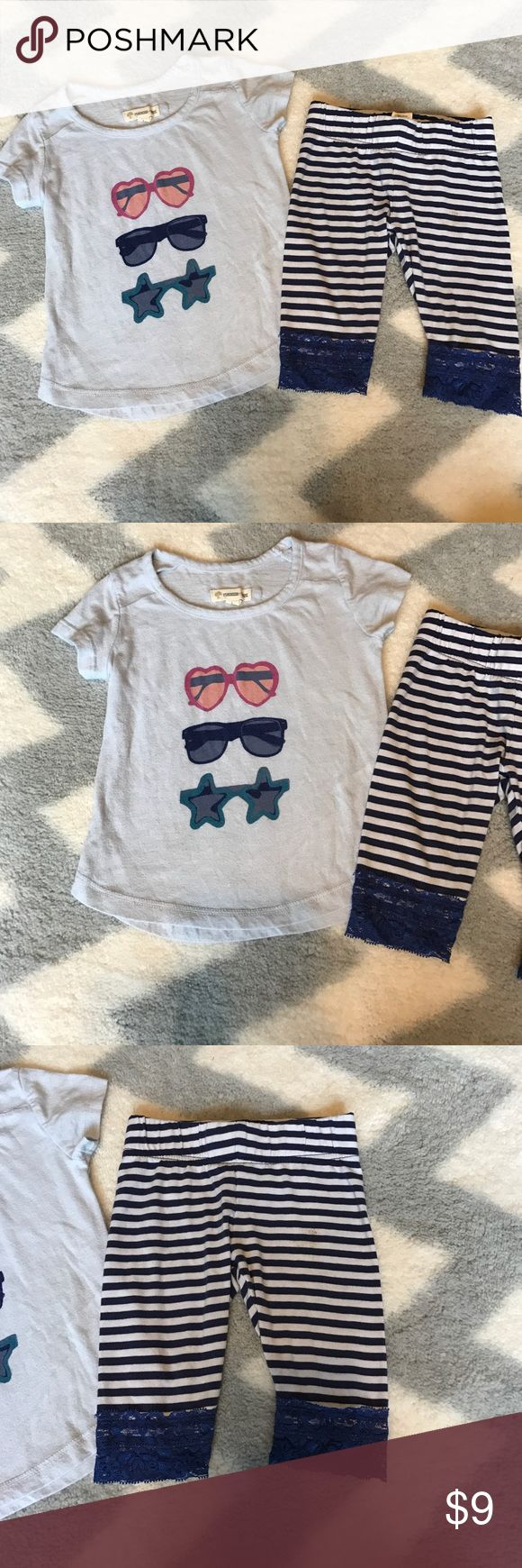 Tucker and Tate shirt and leggings Extra soft cotton shirt with sunglasses and blue and white leggings with lace. Both items are Tucker and Tate. The shirt is size 3T but fits a 2T and the leggings are size 2T. Both items in great condition but the leggings have a small stain as seen in picture. You can really only see it if your looking for it. I have lots of kids clothes check out my closet! Tucker + Tate Matching Sets