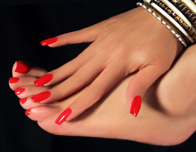 Red manicure and pedicure  for Valentines Day by Elaine All Nails, Bronx NY, January 2015.