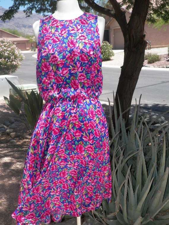 Pretty Woman 80s Style Silk Summer Dress by DesertBlossomVintage, $14.00