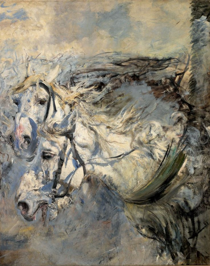 """Two White Horses""  --  1881-1886  --  Giovanni Boldini  --  Italian  --  Oil on canvas  --  Museo Giovanni Baldini  --  Ferrara, Italy"