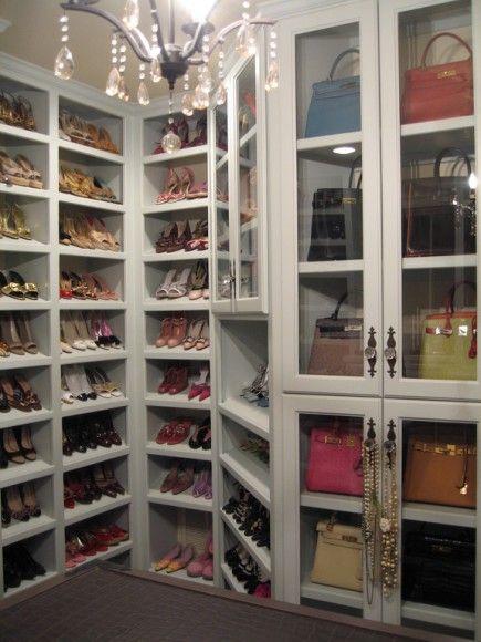 I wish :) shoes and handbags neatly organized in closet: Decor, Idea, Dreams Houses, Dreams Closet, Handbags, Shoecloset, Glasses Doors, Shoes Closet, Heavens