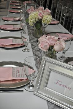 Pink and silver wedding.