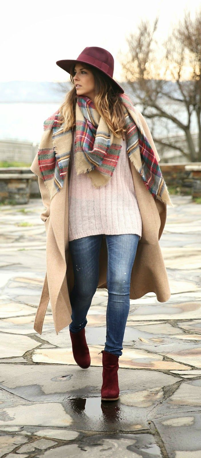 Winter Fashion 2015. Loving this Oversized Coat, Plaid Scarf & adorable Burgundy Booties. ::M::