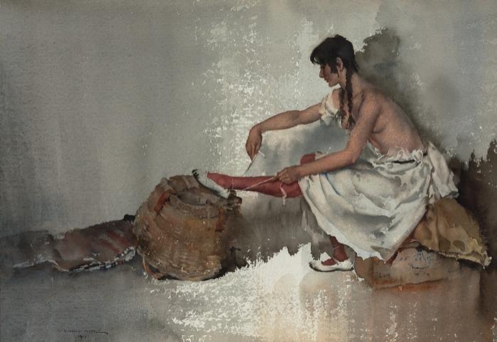 Sir William Russel Flint, Scottish artist. Watercolour