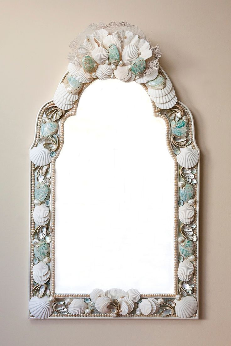 Mermaid 39 s looking glass shellwork mirrors frames for Glass and mirror craft