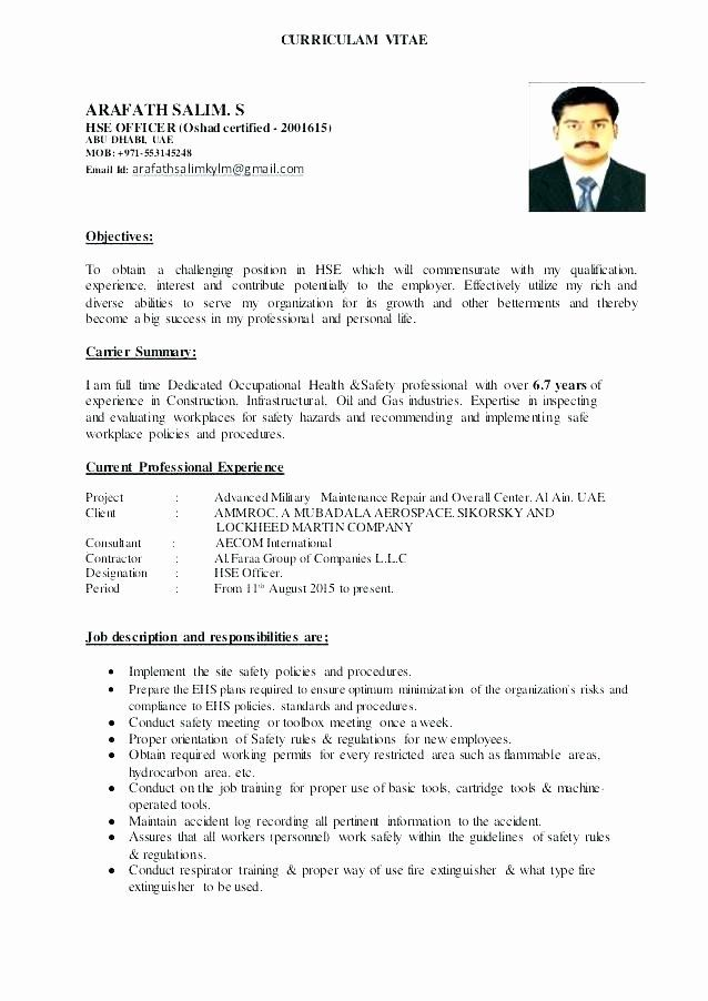 Health And Safety Resume Inspirational Safety Ficer Resume Templates 2019 Resume Sample Health And Safety Health Resume