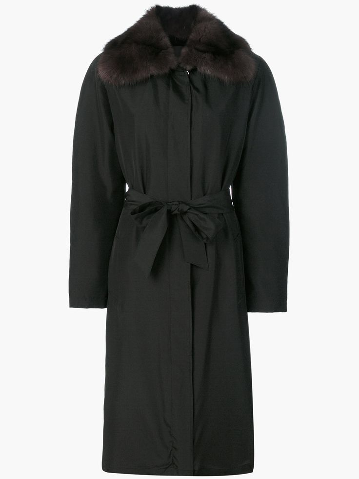 Liska Einreihiger Mantel mit Pelzbesatz