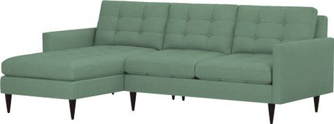 Petrie 2-Piece Left Arm Chaise Midcentury Sectional Sofa (Left Arm Chaise, Right Arm Loveseat) shown in Jonas, Seamist
