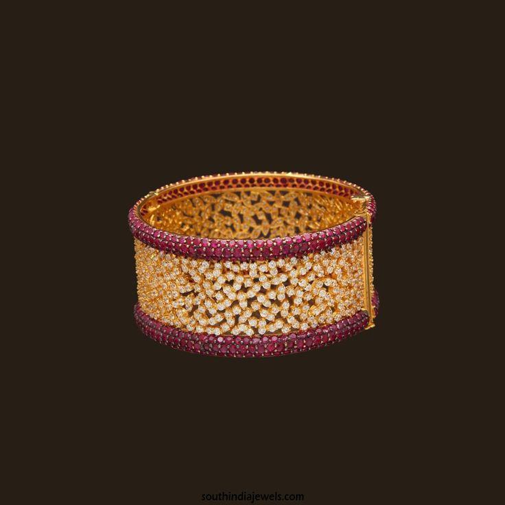 Gold CZ Stone ruby bangle