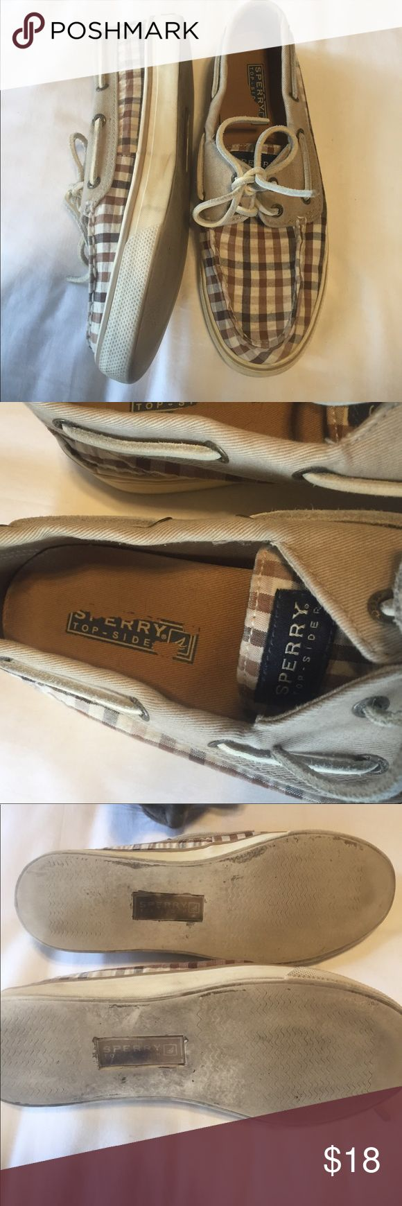 Cute brown plaid Sperry Top Siders. Size 6.5 Sperry Top Slidders. Brown plaid. 6.5. Still in great shape! Light wear but clean and lots of life left! Sperry Top-Sider Shoes Sneakers