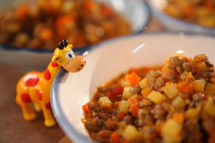 En una ollita con un poco de aceite dorá la carne, agregá el puerro cortado finito, las verduras en cubitos, el tomillo y un poco de caldo.Sumá el puré de zanahoria, los tomates y un poquito de sal.Añadí las lentejas y las arvejas.Seguí cocinando hasta que el gusio esté un poco espeso y las verduras blandas.