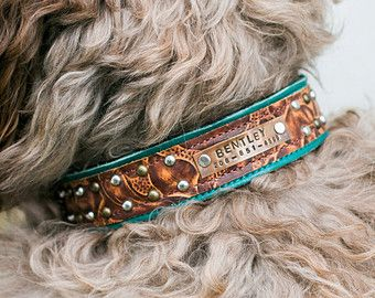 CUSTOM Leather Dog Collar // Name Plate and by WildHoundOutfitters