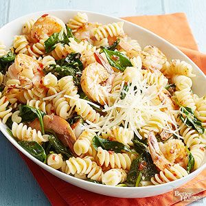 This quick shrimp and pasta dinner can be ready in 25 minutes./