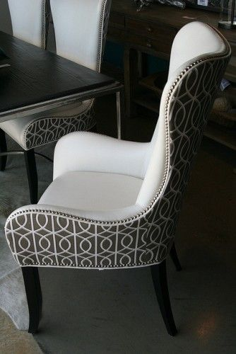 I absolutely love this chair, clean and crisp and a little bling with the silver nail head trim!  Yes please!