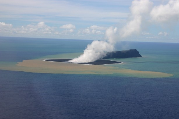 NEW Volcanic Island off the coast of Tonga, created by underground eruption. (March 2012)