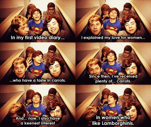 """""""In my first video diary I explained my love for women who have a taste in carrots. Since then, I've received plenty of carrots. And now, I also have a keenest interest in women who like Lamborghinis."""" -Louis"""