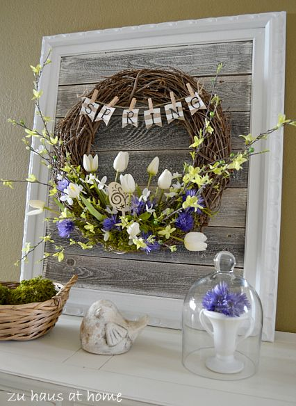 Jenn, the frame with barnwood inlay. Top Spring Wreaths and Porches - Our Southern Home.
