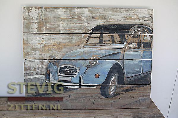 """Wood Painting, Schilderij van gebruikt steigerhout """"Eend"""" Citroën Deux Chevaux 100x80cm geschikt voor buiten."""