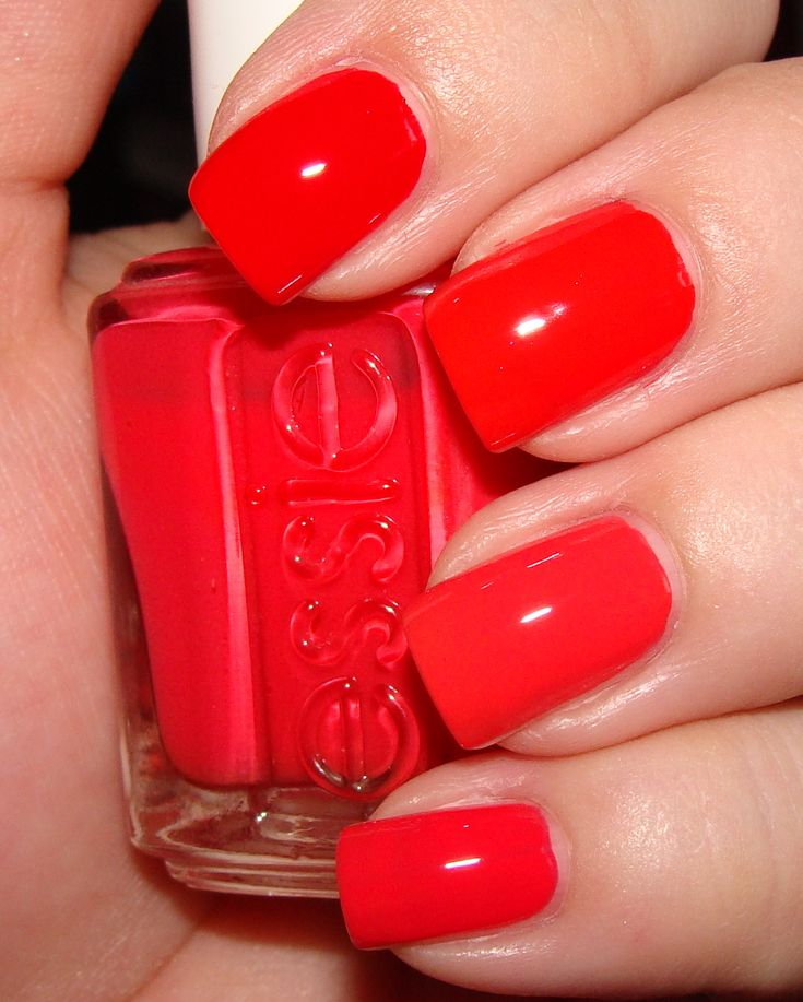 bright red nail polish | Bright Coral-Red Nail Polish Comparisons; Featuring OPI, Essie, Color ...