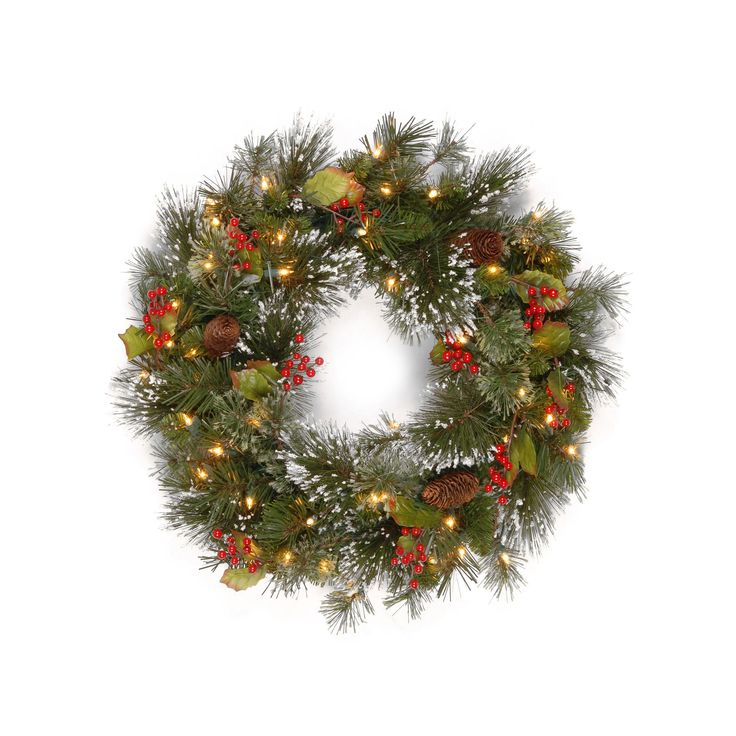 Pre lighted christmas wreaths garland