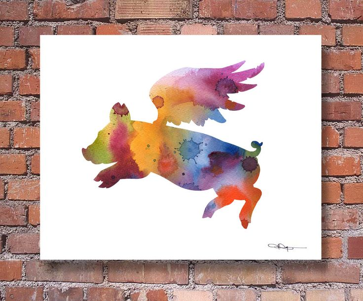 Flying Pig - Art Print - Abstract Watercolor Painting - Wall Decor by 1GalleryAbove on Etsy https://www.etsy.com/listing/217985835/flying-pig-art-print-abstract-watercolor