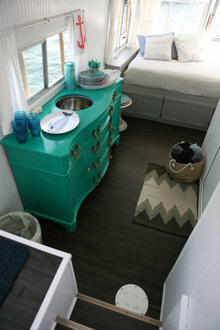 507 best images about house boats floating homes on for Boat interior design ideas home