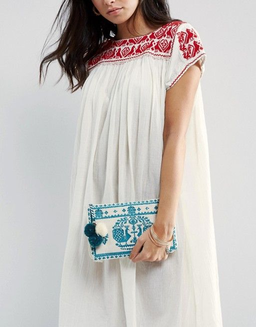 Embroidered Zip Top Pouch With Pom | Star Mela