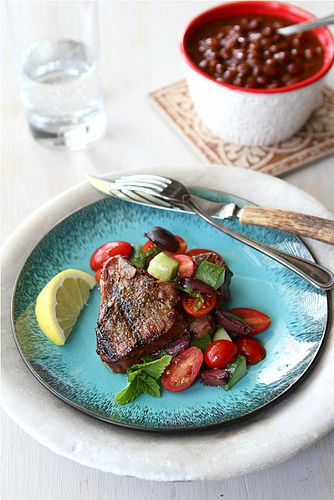 Greek grilled lamb chops with tomato, cucumber, and kalamata olive salad: Kalamata Olives, Lamb Chop Recipes, Grilled Lamb Greek, Grilled Lamb Chops, Greek Grilled, Olives Salad, Cucumber Kalamata, Lamb Chops Recipes, Cookin Canucks