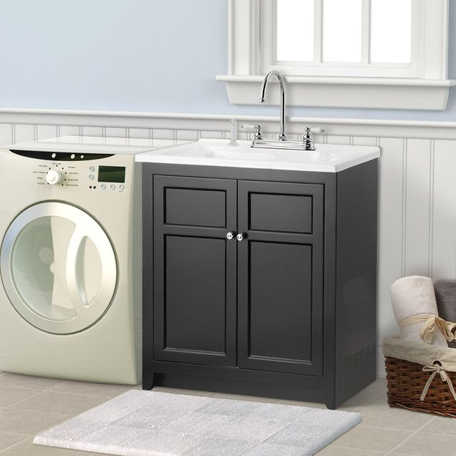 Laundry Vanity in Black and Premium Acrylic Sink and Faucet Kit  at The  Home Depot   Mobile15 best Laundry room images on Pinterest   Laundry room design  . Kitchen Laundry Combo Designs. Home Design Ideas