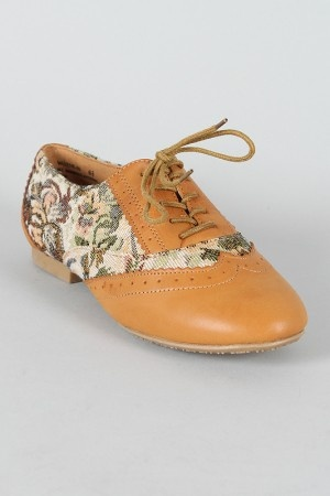 Bambo Vabene-20 Floral Tapestry Lace Up Oxford Flat