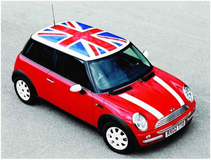 new generation mini cooper red paint with british flag on. Black Bedroom Furniture Sets. Home Design Ideas