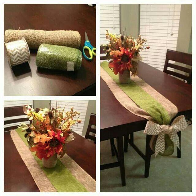 Centro de mesa con yute, cuadrille y cinta para el moño