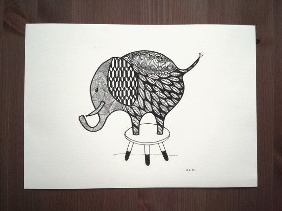 Cute elephant drawing by CreativChallenge on Etsy, kr200.00